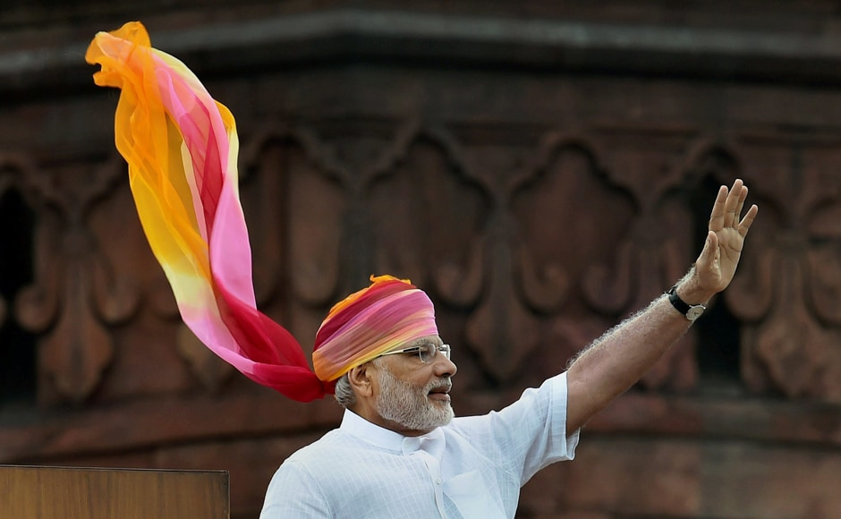Indian Prime Minister Narendra Modi waves at the crowd after his address during the Independence Day function at the Red Fort monument in New Delhi, India, Monday, Aug. 15, 2016. AP