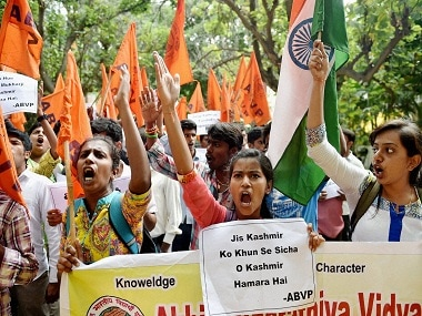 Bengaluru: ABVP activists shou slogans during a protest against Amnesty International India in Bengaluru on Friday. PTI Photo by Shailendra Bhojak (PTI8_19_2016_000152B) *** Local Caption ***