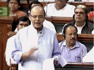 Finance Minister Arun Jaitley in Lok Sabha. PTI
