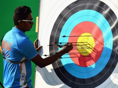 Atanu Das during the men's individual archery ranking round. Getty