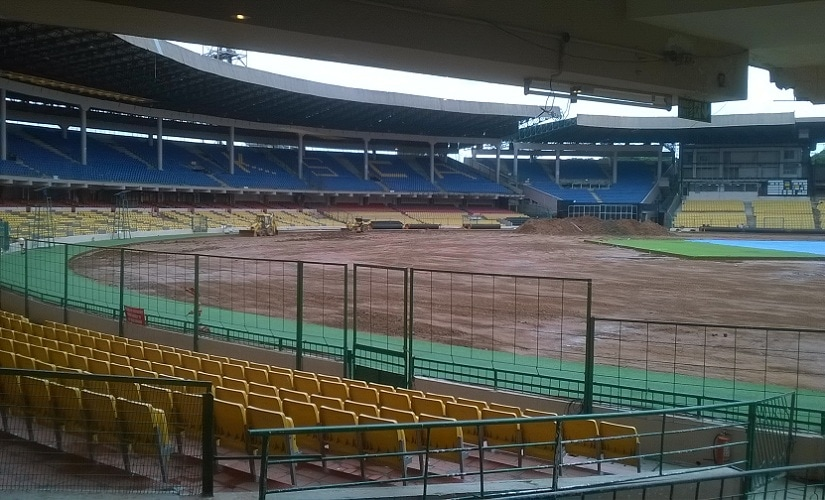 The Chinnaswamy Stadium outfield after it was ripped open during June and early July. Image courtesy: Vedam Jaishankar