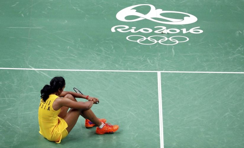 PV Sindhu reacts after going down fighting to Carolina Marin. Getty