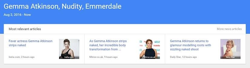 Screenshot of trending headlines for Gemma Atkinson on Thursday, 4 August