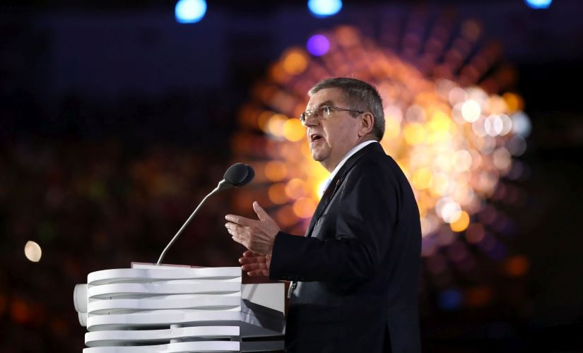 IOC President Thomas Bach speaks during the Closing Ceremony. Getty