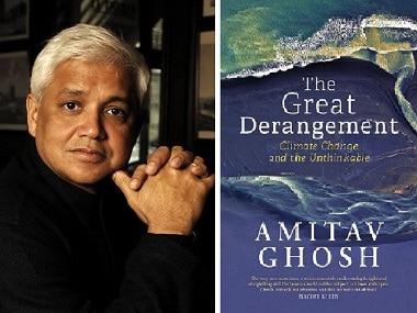 Amitav Ghosh (L); Cover of 'The Great Derangement'