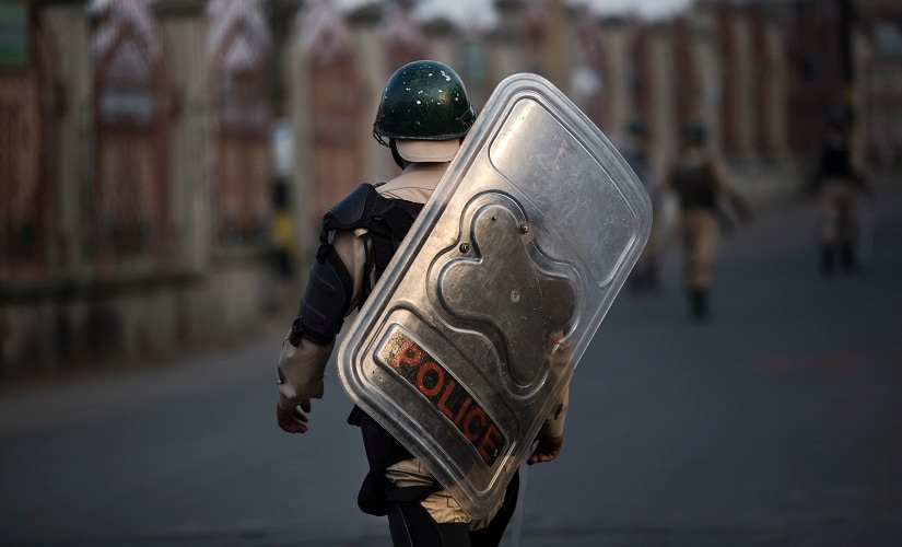 File image of Indian paramilitary soldiers deployed during curfew hours in Srinagar. AP