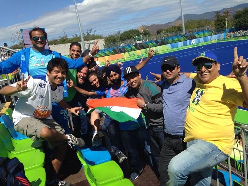Indian fans at Deodoro Hockey Stadium. Photo courtesy Aravind Krishnan