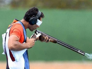 Manavjit Singh Sandhu during the trap shooting qualification of Rio 2016 Olympics. PTI