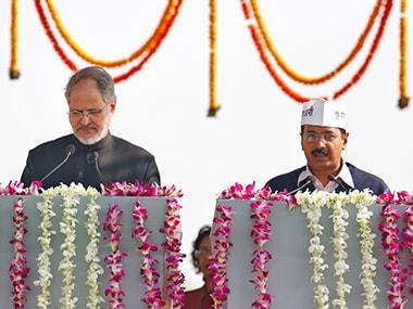 File image of Najeeb Jung and Arvind Kejriwal. Reuters