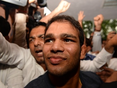 Wrestler Narsingh Yadav at the NADA office in New Delhi at the conclusion of his hearing. AFP