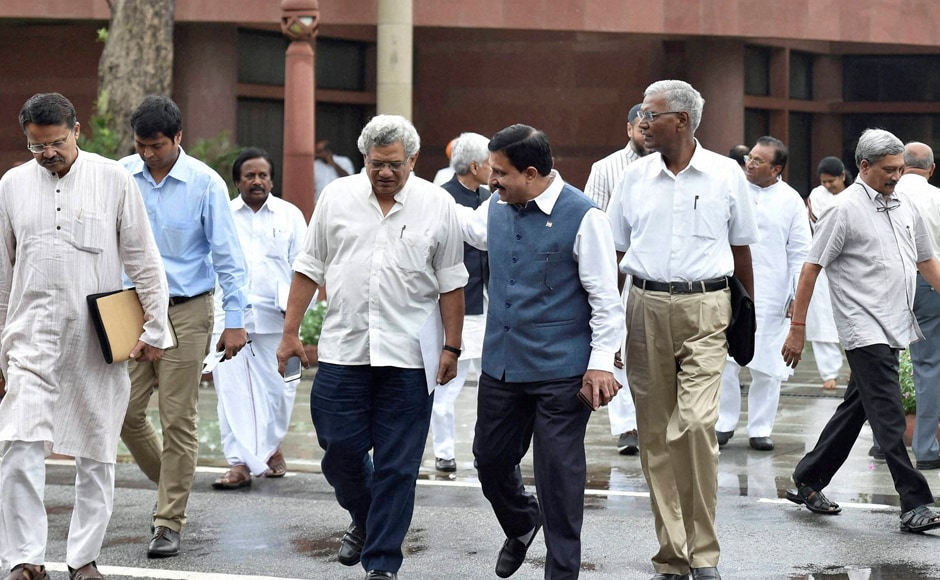 CPM General Secretary Sitaram Yechruy, CPI National Secretary D Raja, Defence Minister Manohar Parrikar leave after the all-party meet convened by Prime MInister Modi to discuss the situatiion in Kashmir Valley. PM Modi had saidthe government is committed to restoring normalcy in the Valley. PTI