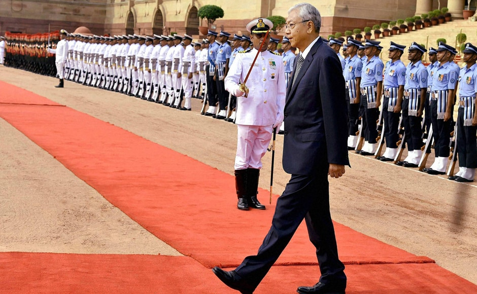 President of Myanmar U Htin Kyaw inspects Guard of Honour at Rashtrapati Bhavan in New Delhi.This wasthe first presidential visit from Myanmar to India after Nobel laureate Suu Kyi's National League for Democracy (NLD) came to power in March 2016. PTI