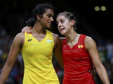 File photo of PV Sindhu and Carolina Marin. Reuters