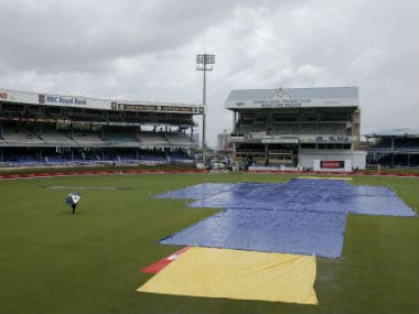 Covers were out throughout Day 3 of the 4th Test at the Queens Park Oval. AP
