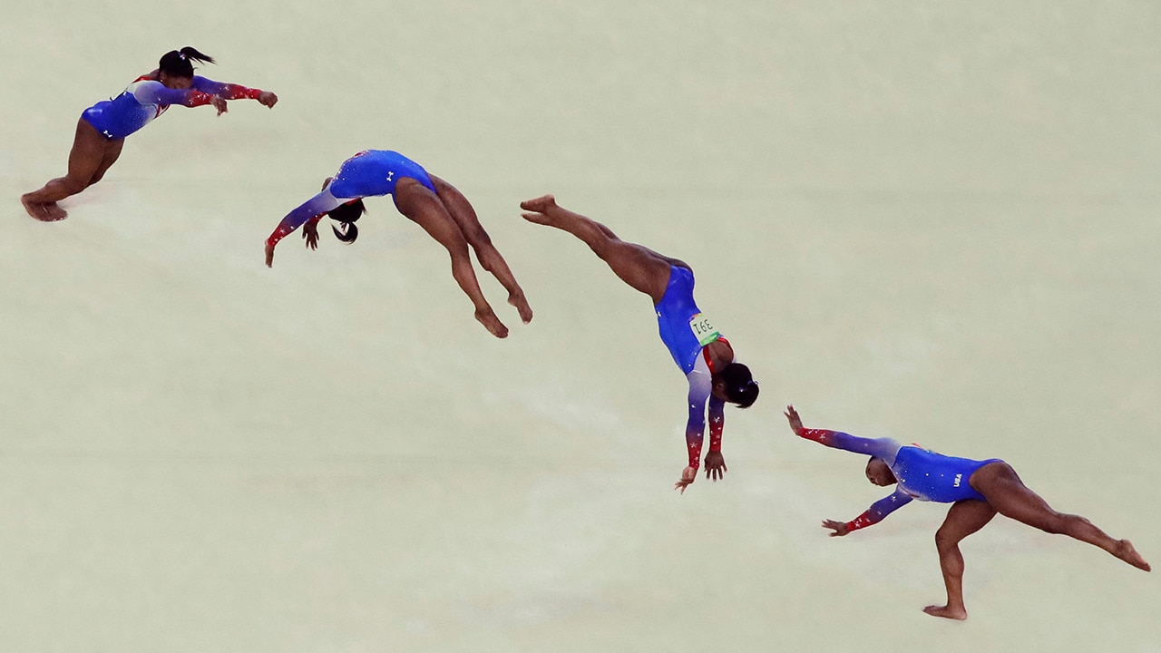 In this multiple exposure frame, United States' Simone Biles performs on the floor during the artistic gymnastics women's apparatus final at the 2016 Summer Olympics in Rio de Janeiro, Brazil, Tuesday, Aug. 16, 2016. (AP Photo/Julio Cortez)