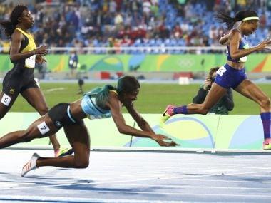 Shericka Jackson, Shaunae Miller and Allyson Felix finish the race. Reuters