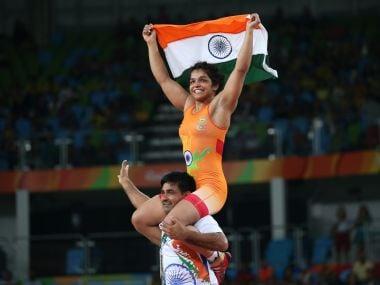 Sakshi Malik celebrates with her team member after winning the bronze medal. Reuters
