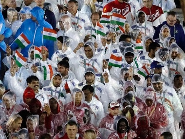 Athletes from India march into the closing ceremony in the Maracana stadium at the 2016 Summer Olympics in Rio de Janeiro, Brazil, Sunday, Aug. 21, 2016. (AP Photo/Charlie Riedel)