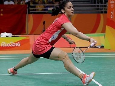 Saina Nehwal in action against Ukraine's Maria Ulitina. AP