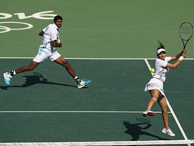 Sania Mirza and Rohan Bopanna in action in Bronze medal play-off. Getty