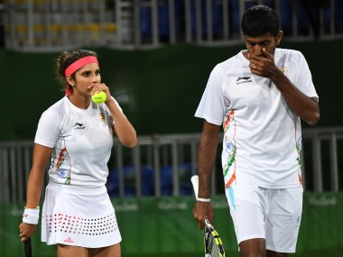 Sania Mirza and Rohan Bopanna in action at the Rio Olympics. AFP
