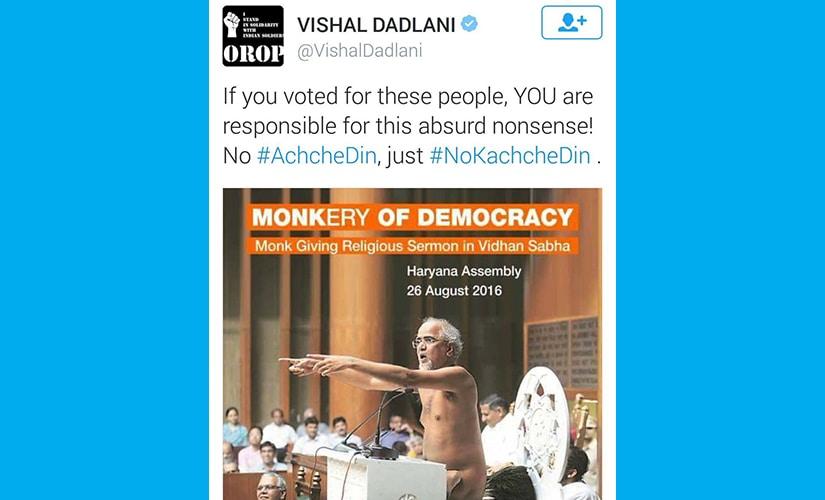 Vishal Dadlani's tweet that was later deleted.