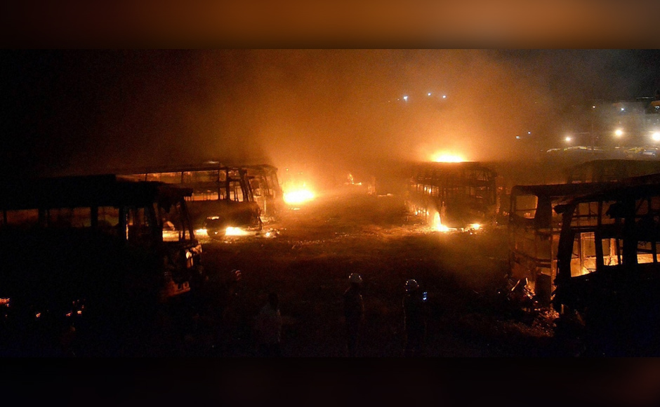 Widespread violence erupted on Monday in Bengaluru and some other parts of Karnataka, while sporadic trouble was witnessed in Tamil Nadu following SC's modified order on sharing Cauvery water by the two riparian states. A fleet of Tamil Nadu-bound buses were set ablaze after by pro-Kannada activists during the protest in Bengaluru on Monday. PTI