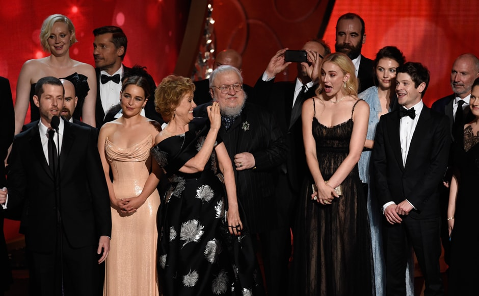 The cast and crew from 'Game of Thrones' accept the award for outstanding drama series at the 68th Primetime Emmy Awards on Sunday, Sept. 18, 2016, at the Microsoft Theater in Los Angeles. (Photo by Chris Pizzello/Invision/AP)