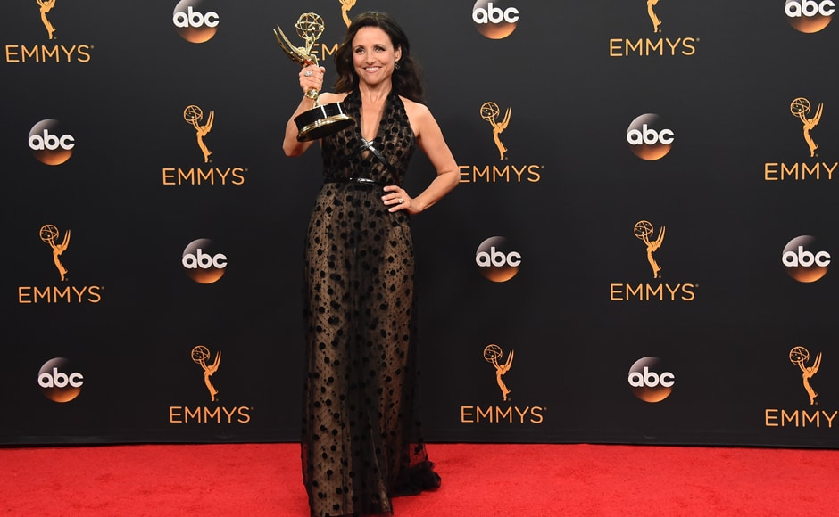 Julia Louis-Dreyfus winner of the award for outstanding lead actress in a comedy series for 'Veep' poses in the press room at the 68th Primetime Emmy Awards on Sunday, Sept. 18, 2016, at the Microsoft Theater in Los Angeles. (Photo by Jordan Strauss/Invision/AP)