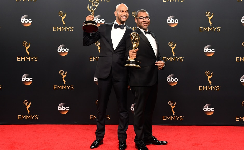 Keegan-Michael Key, left, and Jordan Peele winners of the award for outstanding variety sketch series for 'Key & Peele' pose in the press room at the 68th Primetime Emmy Awards on Sunday, Sept. 18, 2016, at the Microsoft Theater in Los Angeles. (Photo by Jordan Strauss/Invision/AP)