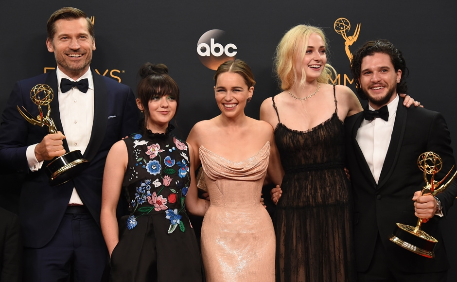 Nikolaj Coster-Waldau, from left, Maisie Williams, Emilia Clarke, Sophie Turner, and Kit Harington winners of the award for outstanding drama series for 'Game of Thrones' pose in the press room at the 68th Primetime Emmy Awards on Sunday, Sept. 18, 2016, at the Microsoft Theater in Los Angeles. (Photo by Jordan Strauss/Invision/AP)