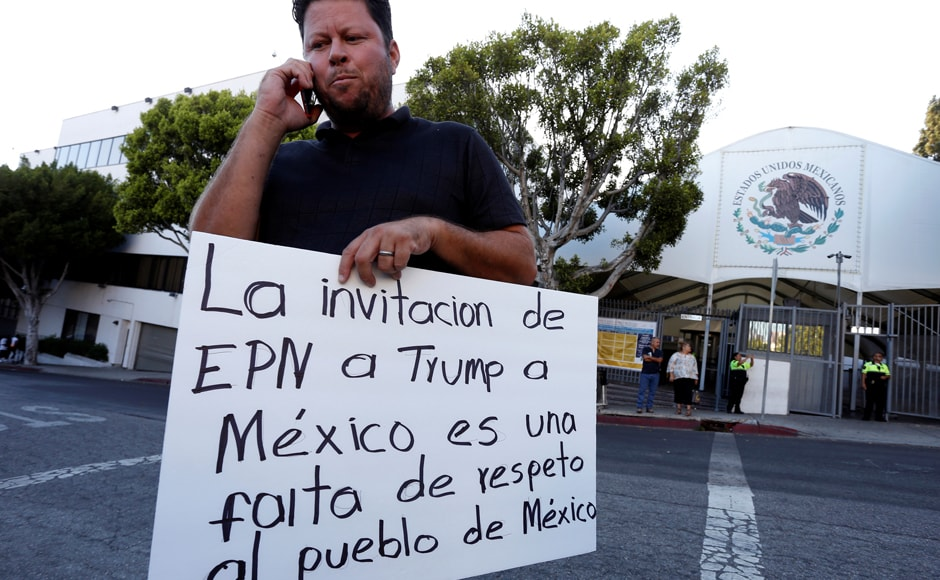 Many Mexicans were disappointed and disgusted that Trump was invited to Mexico. Mexico's president was savaged on social media and in political circles following his joint press conference Wednesday with Trump. People also protested outside the Mexican Consulate against Trump's visit to Mexico in Los Angeles, California. Photo: Reuters
