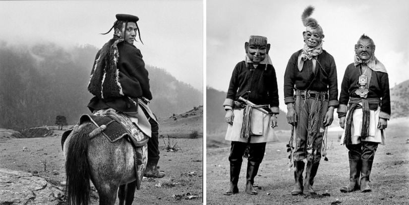 (L) Wangdi in Merak village, 2004; (R) Yak Cham performers in Merak village, 2004. Images © Serena Chopra, courtesy Tasveer