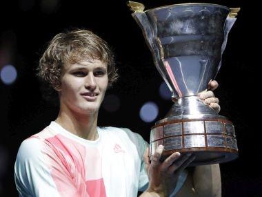 Alexander Zverev holds his trophy after winning the St Petersburg Open. AP