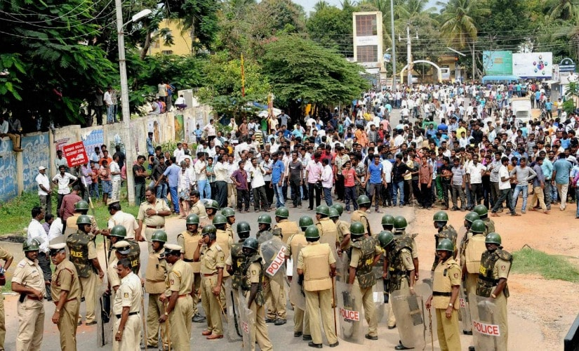 Protests in Bengaluru over Cauvery water. PTI