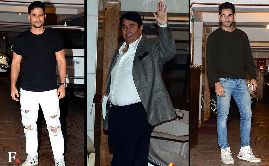 Kareena Kapoor Khan's brother-in-law Kunal Khemu, her father Randhir Kapoor and Reema Kapoor's son Armaan Jain. Sachin Gokhale/Firstpost