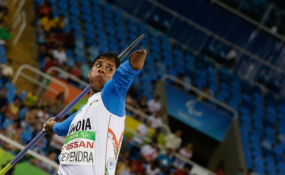 India's Devendra Jhajharia competes in the men's javelin throw F46 final of the Paralympic Games in Rio de Janeiro, Brazil, Tuesday, Sept. 13, 2016. Devendra won gold and set a new world record. AP Photo