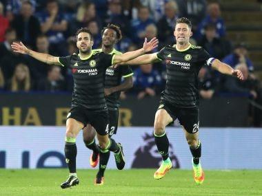 Cesc Fabregas celebrates after scoring Chelsea's  fourth goal. AP