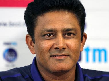 Indian cricket coach Anil Kumble attends a press conference ahead of their second Test match against New Zealand. AP