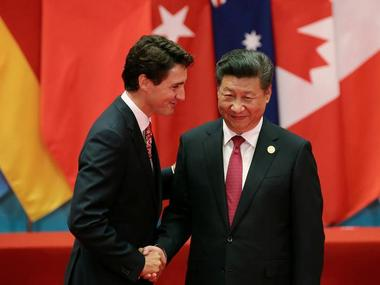 Chinese President Xi Jinping shakes hands with Canadian Prime Minister Justin Trudeau during the G20 Summit in China. Reuters