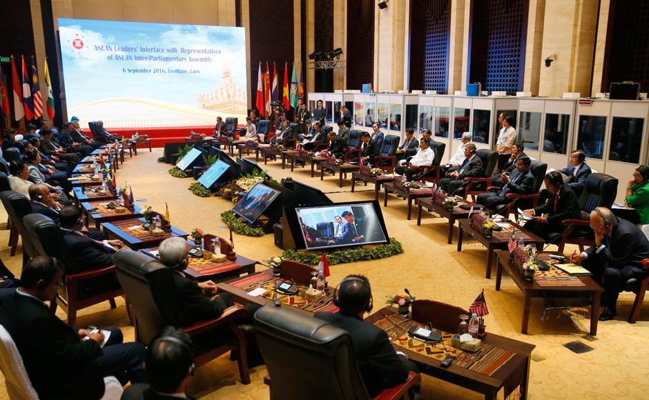ASEAN leaders, right, listen to speeches during their dialogue with representatives of the Inter-Parliamentary Assembly in the 28th and 29th ASEAN Summits and other related summits in the National Convention Center in Vientiane, Laos. (AP Photo/Bullit Marquez)