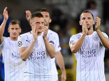 Leicester City's players celebrate their Champions League win over Club Brugge. AFP