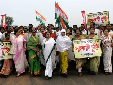 File photo of Mamata Banerjee in a protest march in 2008. Reuters
