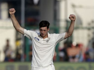 Mitchell Santner finished with figures of 3/77 at stumps on Day 1. AP