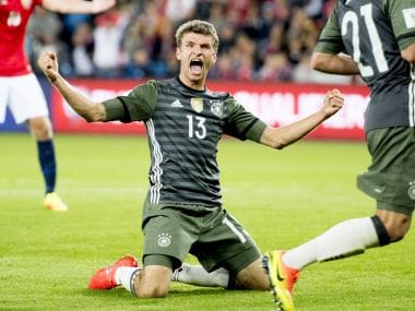 Germany's Thomas Muller celebrates during their 3-0 victory over Norway. AP