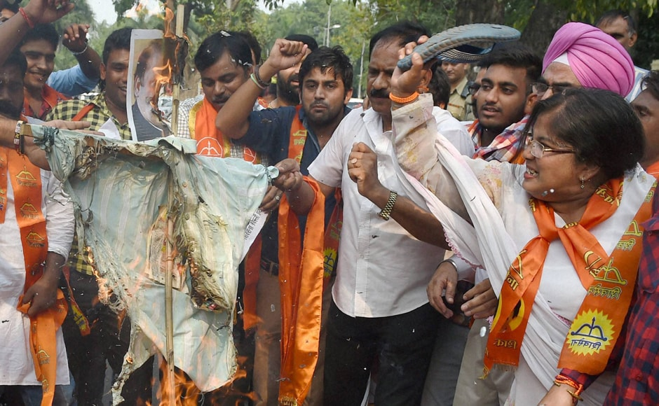 Shiv Sena said that situation has become worse than that under the previous Congress regime. Sena activists too burnt effigy of Sharif to protest against the attack on Uri Army camp. Photo: PTI