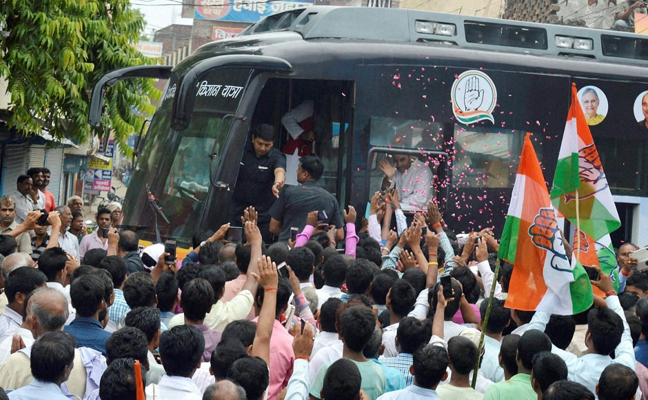 Congress vice-president Rahul Gandhi kicked off his party's campaign for the Uttar Pradesh polls with a 2,500 km kisan mahayatra from Deoria. Photo: PTI
