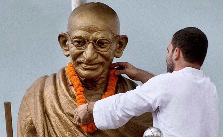 The Congress vice-president paid tribute to Mahatma Gandhi on Thursday in Basti. PTI