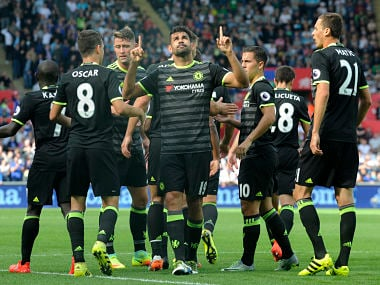 Diego Costa celebrates his goal against Swansea in the Premier League. Reuters