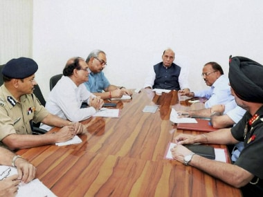 Home Minister Rajnath Singh holding a high-level security meeting at his residence in New Delhi on Sunday. PTI